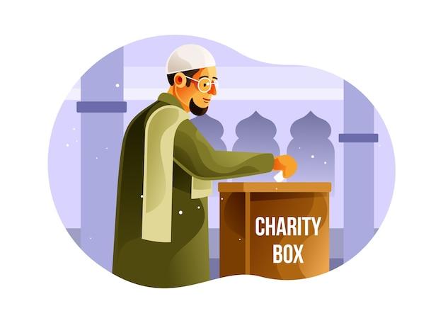Muzułmanie dają jałmużnę w skrzynce na cele charytatywne
