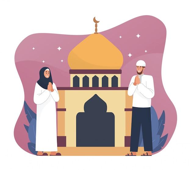 Muzułmanie witają i świętują eid mubarak