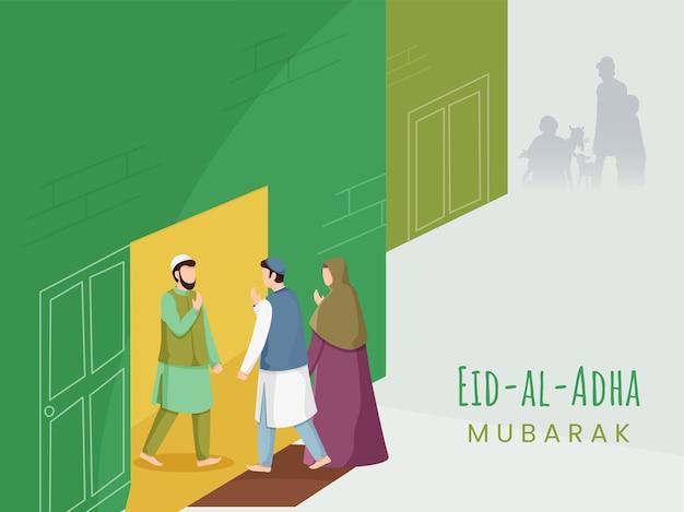 Muzułmanie witają się po powrocie do domu z okazji eid-al-adha mubarak.