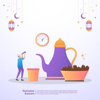 Muzułmanin czeka na czas do iftar ramadanu. ilustracja koncepcja ramadan kareem