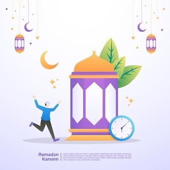 Muzułmanin jest szczęśliwy, gdy przerywa post ramadanu. ilustracja koncepcja ramadan kareem
