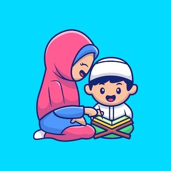 Muzułmanin mama i dziecko czytający ilustrację koranu. postać z kreskówki maskotka ramadan. osoba płaski styl kreskówek