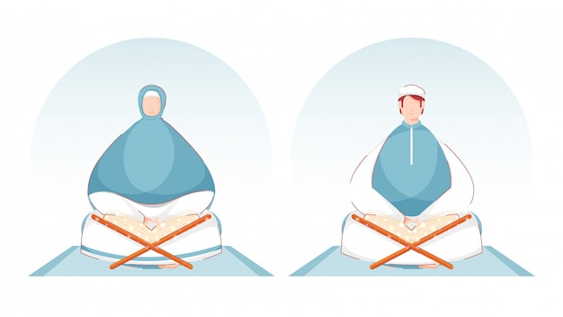 Muzułmanin mężczyzna i kobieta czyta książkę magicznego koranu na blue mat.