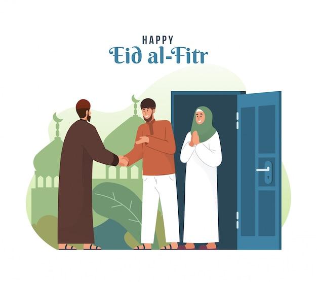 Muzułmanin, ściskając ręce i świętując eid al-fitr