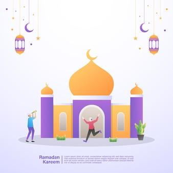 Muzułmanin z radością wita miesiąc ramadanu w meczecie. ilustracja koncepcja ramadan kareem