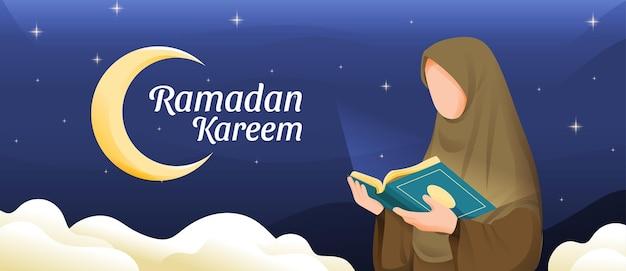 Muzułmanka czytająca koran lub koran w świętym miesiącu ramadan kareem z ilustracji półksiężyca i gwiazd