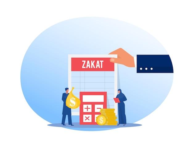Muzułmanka I Mężczyzna Płacą Zakat Z Zysku Na Ilustratorze Ramadan Kareem Premium Wektorów