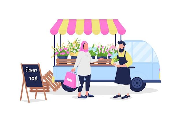 Muzułmanka kupująca kwiaty od białych postaci bez twarzy.