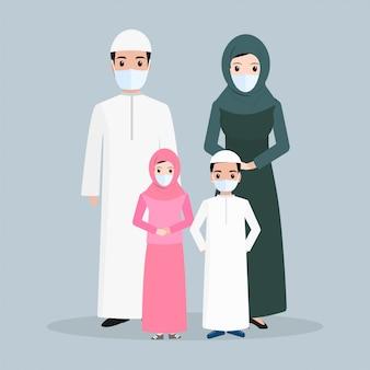 Muzułmańscy ludzie jest ubranym twarzy maski ilustrację