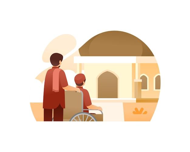 Muzułmańscy mężczyźni idący do meczetu za pomocą ilustracji na wózku inwalidzkim