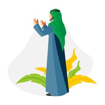 Muzułmańscy młodzi człowiecy ono modli się w ramadan kareem charakteru płaskiej ilustraci