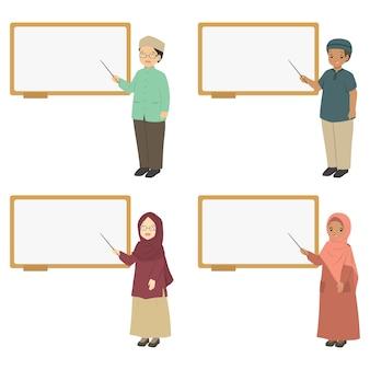 Muzułmańscy nauczyciele wskazuje przy whiteboard, wektorowa kolekcja.
