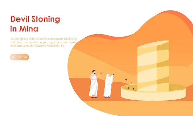 Muzułmańscy pielgrzymi pielgrzymi ukamienowania szablon filaru diabła