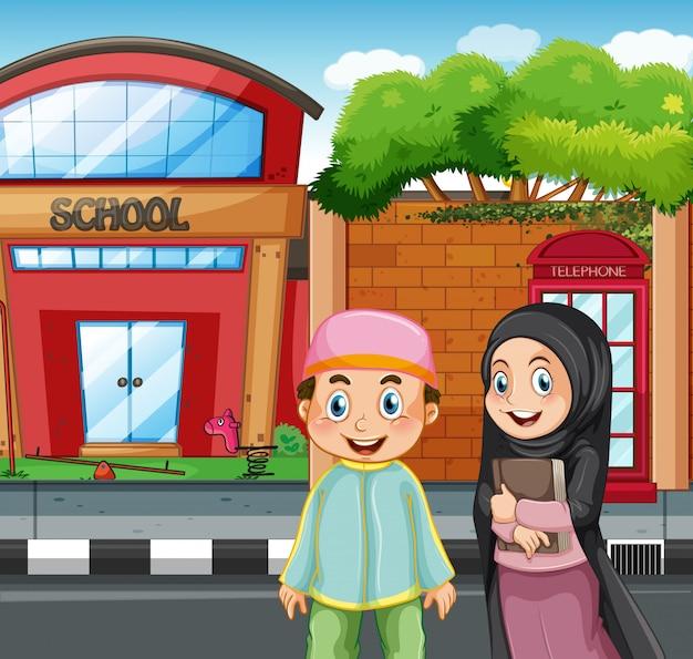 Muzułmańscy studenci przed szkołą