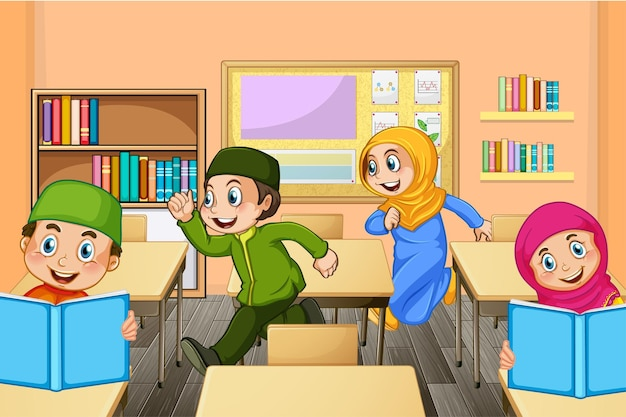 Muzułmańscy uczniowie na scenie szkolnej