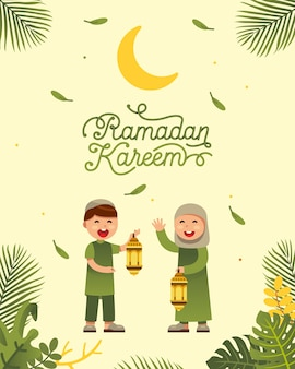 Muzułmańska chłopiec i dziewczyna świętuje ramadan z pięknym ramadan kareem teksta projektem