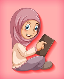 Muzułmańska dziewczyna czytająca książkę