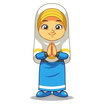 Muzułmańska dziewczyna pozdrowienia salaam ramadan