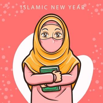 Muzułmańska dziewczyna pozdrowienie szczęśliwego muharrama islamskiego nowego roku