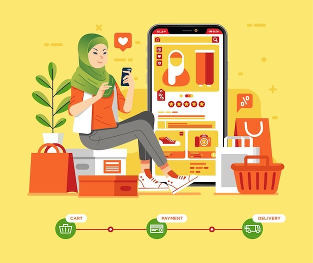Muzułmańska dziewczyna siedzi i trzyma telefon komórkowy do zakupów online, wiele toreb na zakupy wokół niej. przepływ zakupów online w e-commerce. używane do plakatów, obrazów internetowych i innych
