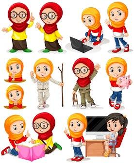Muzułmańska dziewczyna w różnych działania ilustracji