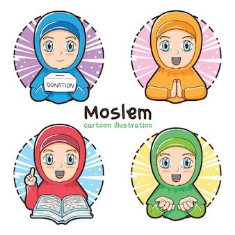 Muzułmańska dziewczyna zestaw ilustracja kreskówka