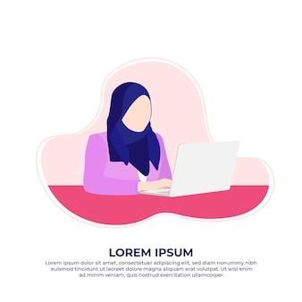 Muzułmańska kobieta biznesu korzystająca z laptopa pracującego w domu