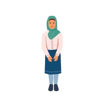 Muzułmańska nastolatka w hidżab chustka na głowę narodowa tkanina na białym tle kreskówka studentka wektor ładny