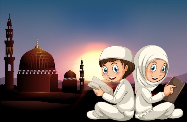 Muzułmańska para czyta książki