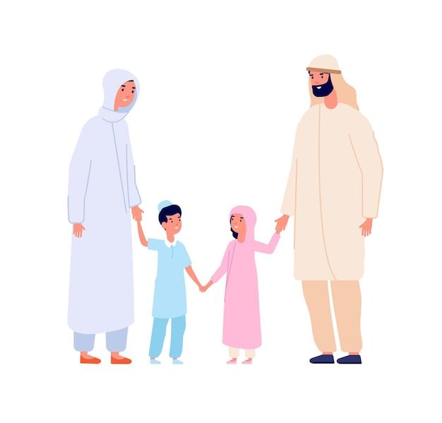Muzułmańska rodzina arabska. arabskie dzieci, islam, matka, ojciec, dzieci. kreskówka chłopiec i dziewczynka w hidżab, na białym tle znaków wektorowych dorosłych i młodzieży. matka i ojciec islam z postaciami dla dzieci ilustracją