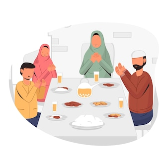 Muzułmańska rodzina iftar razem, wspólne śniadanie i wspólne czytanie modlitw ilustracja projektu koncepcyjnego