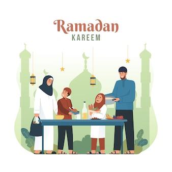 Muzułmańska rodzina przygotowuje posiłek iftar