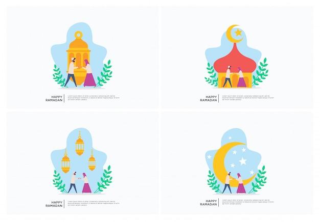 Muzułmańska rodzina ramadan płaski ilustracja