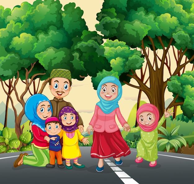 Muzułmańska rodzina w parku