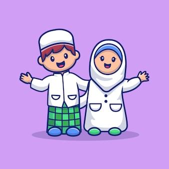 Muzułmańska śliczna chłopiec i dziewczyna ilustracja. postać z kreskówki maskotka ramadan. osoba płaski styl kreskówek