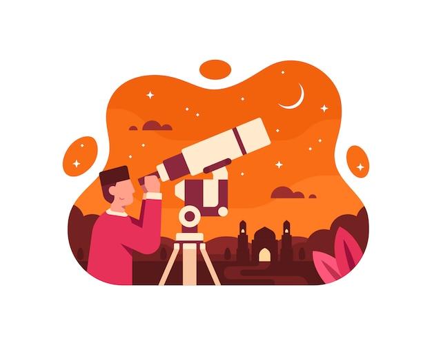 Muzułmański astronom widzący półksiężyc za pomocą teleskopu