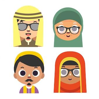 Muzułmański avatar wektor znaków