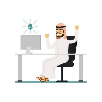 Muzułmański biznesmen pracuje na komputerze