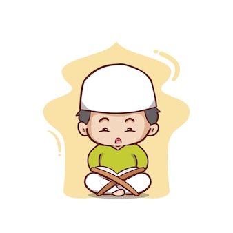 Muzułmański chłopiec czytający al koran