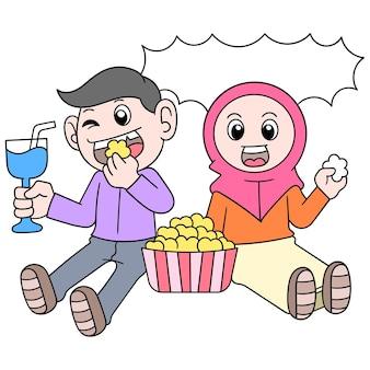 Muzułmański chłopiec i dziewczynka siedzą razem jeść dania iftar, wektor ilustracja sztuki. doodle ikona obrazu kawaii.