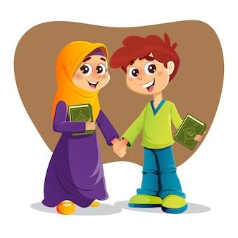 Muzułmański chłopiec i dziewczynka trzymający święte księgi koranu