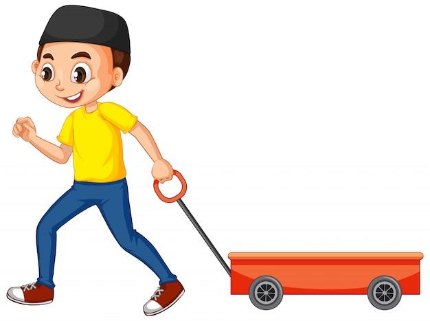 Muzułmański chłopiec z wózkiem zabawki
