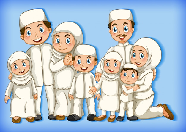 Muzułmański członek rodziny na tle gradientu koloru postaci z kreskówek