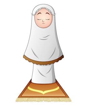 Muzułmański dziewczyny modlenie odizolowywający na białym tle