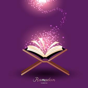 Muzułmański koran z magicznym światłem dla ramadanu islamu