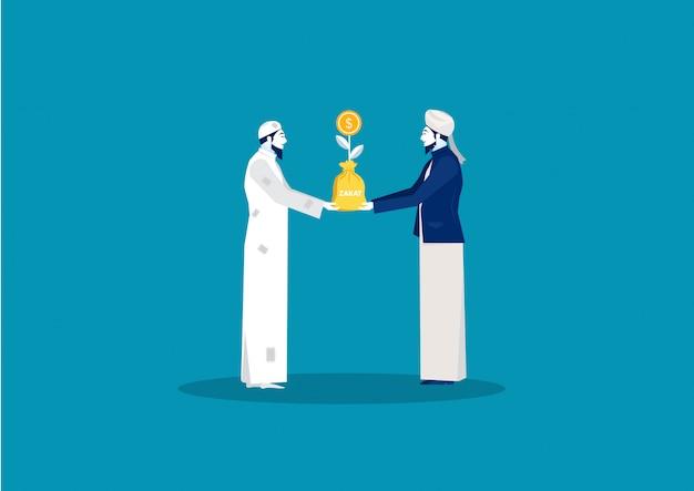 Muzułmański mężczyzna daje pieniądze r biedny bezdomny zakat pojęcia żywy ilustrator.
