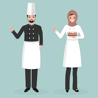 Muzułmański mężczyzna i kobieta szef kuchni