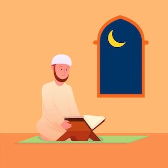 Muzułmański mężczyzna recytujący koran islamską świętą księgę