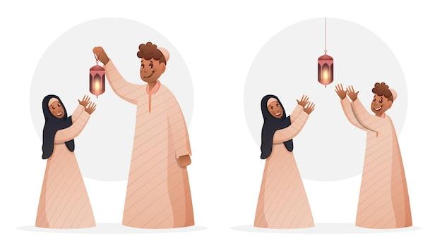 Muzułmański młody chłopak i dziewczyna stojąca z oświetloną latarnią na białym tle.