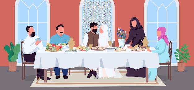 Muzułmański ślub płaski kolor. pan młody i panna młoda przy świątecznym stole. świętuj z indyjskimi krewnymi posiłkiem. małżeństwo postaci z kreskówek 2d z wnętrzem domu na tle